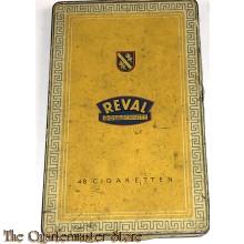 Blechdose REVAL Goldschnitt  fuer 48 Zigaretten (Tin can REVAL Goldschnitt tobacco) 1940s