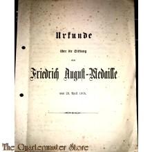 Urkunde uber die Stiftung einer Friedrich August-Medaille 1905