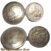 Manchetknopen zilver 25 cents/10 cents  konings gezinden 1940-45