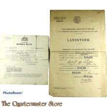 2x Landstorm documenten 1903/1919 gemeente ZUILEN
