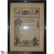 Ingelijst getuigschrift RK militairen vereniging 1915