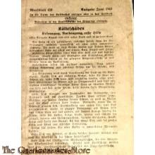 Soldbuch 2x Merkblatt 75 Selbsthilfe und 153 Kalteschäden (Ost Front)  juni 1943