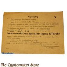 Briefkaart Oproeping tot Bewakingsdienst Arnhem 29 oct 1941