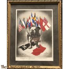 Framed Poster embleme de la Resistance  John Bull 1945