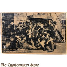 Prent briefkaart  mobilisatie 1940 Een lied, een lach , een beetje gijn, Het valt nog wel mee, soldaat te zijn