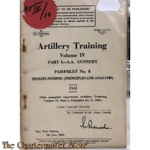 Pamphlet no 8 A.A. Gunnery Vol IV Height finding (principles and analysis) 1943