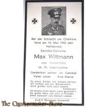 In Memoriam Karte/Death notice (Inf Reg) 1942 Charkow