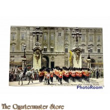 Postcard 1940 The Irish Guards leaving Buckingham Palace after changing Guards