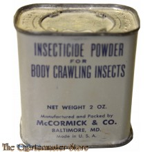 Tin, Insecticide powder for body crawling insects 2 Oz  US Army WW2