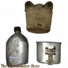 US Army Veldfles M1910 met hoes en cup ww2 heruitgereikt (Canteen M1910 reissue with cover and cup)