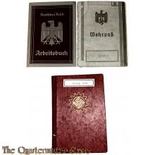 Wehrpass, Arbeitsbuch und Mitgliedsbuch DAF and other paperwork WW2 Landau (Pfalz)