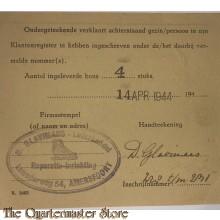 Inschrijvings bewijs Klantenregister Amersfoort 14 april 1944