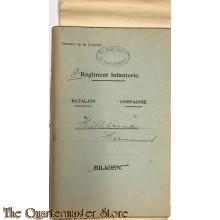 Oorlogszakboekje 8e Regiment Infanterie 3e Schoolcompagnie met documenten