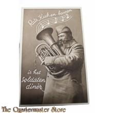 Prent briefkaart  mobilisatie 1940 Rats Kuch en Boonen is het soldaten diner (trombone spelende soldaat)