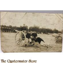 Mil postcard Artillerie bemanning met geschut belgium 1910