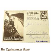 Postkarte Erster Spatenstich 23-09-1933 1000km autobahn fertig 23-09-1936