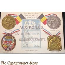 Postcard Souvenir des Journées Francaises, Aux Poilus, La Patrie Reconnaissante, Les Médailles