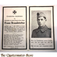In Memoriam Karte/Death notice Grenadier in einem Panzer. Gren regiment Russland