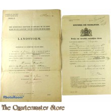 2x Landstorm Kennisgeving van inschrijving en bewijs van werkelijken dienst FERWERADEEL 1919