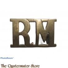 Shoulder title Royal Marines R.M. (brass)