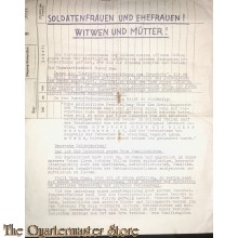 Flugblatt / Leaflet Soldatenfrauen , Ehefrauen Witwen und Muttern