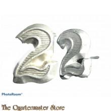 Wehrmacht shoulderboard numerals 2 (silver)