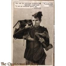 Prent briefkaart mobilisatie 1914 Een van de schoonste bezienswaardigheden onzer natie, is wel de landweer tijdens de mobilisatie