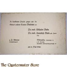 Karte geburts Tochter luftwaffenlazaret 6 Mai 1940