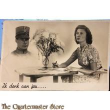 Prent briefkaart mobilisatie 1940 Ik denk aan jou