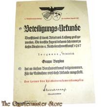 Urkunde Reichsberufswettkampfe 1937 Gruppe Bergbau