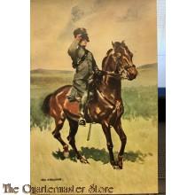 Prent briefkaart no 15 Korps Rijdende Artillerie soldaat