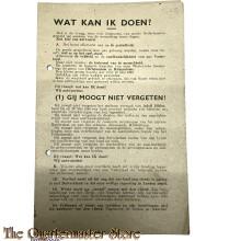 "Vlugschrift /Pamflet Verzet ""Wat kan IK doen !"""