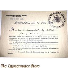 Uitnodiging Comm van Essen 1946 bijwonen ceremonie 12 mai 1946 te Baden-Baden