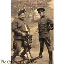 Prent briefkaart mobilisatie 1914 zoo gaat 't goed, steeds in galop
