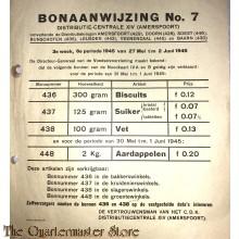 Bonaanwijzing no 7  Distributie-centrale XIV (Amersfoort) 3e week 6e periode 27 mei - 2 juni 1945
