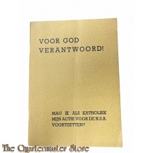 Brochure NSB Voor God verantwoord! Mag ik als Katholiek mijn actie voor de N.S.B. voorzetten? 1935