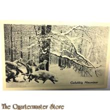 """Prent briefkaart mobilisatie 1940 Gelukkig Nieuwjaar soldaten in de sneeuw """"jagend"""" op varken"""