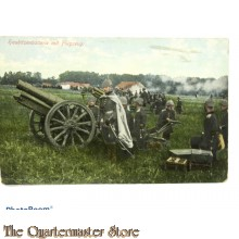 Postkarte 1914 Haubitze batterie mit Flugzeug