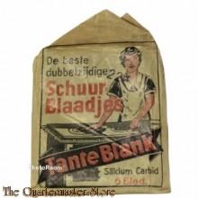 """Papieren zak schuurblaadjes van """"Tante Blank"""" 1940"""