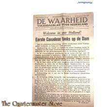 Krant  de Waarheid, volksdagblad voor Nederland, bevrijdingsnummer , Eerste Canadese tanks op de Dam