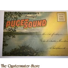 Map of postcards Washington 1940 Puget Sound