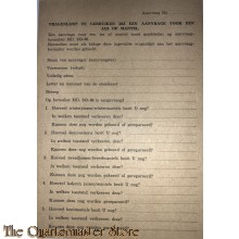 Vragenlijst te gebruiken bij een aanvrage voor een jas of mantel 1944