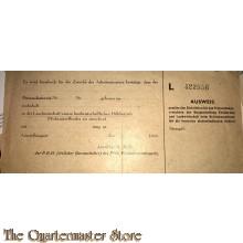 Ausweis Freistellung Arbeitseinsatz Landwirtschaftlichen Hilfsbetrieb 1943