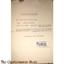 Bestatigung beschaftigung Versand und Lagerarbeit 16-07-1945