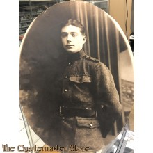 Large oval photograph of WW1 Belgian soldier