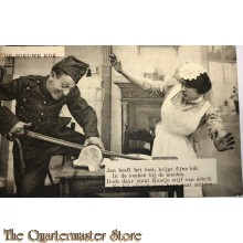 Prent briefkaart 1914 De nieuwe kok, Jan heeft het best, krijgt fine blik
