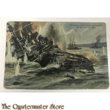 Postkarte WK1 Untergang eines Feindlichen Schiffes vor der Dardanellen