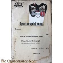 """Urkunde sportauszeichnung """"der Stahlhelm"""" 1928 (Award document der Stahlhelm for sports)"""