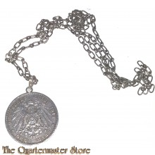 Imperial patriotic silver medailion (3 Mark 1912 coin with kaiser) with necklace