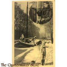 """Ansicht mobilisatie 1940 Gelukkig nieuwjaar , moeder post brief , kind presenteert """"geweer"""""""